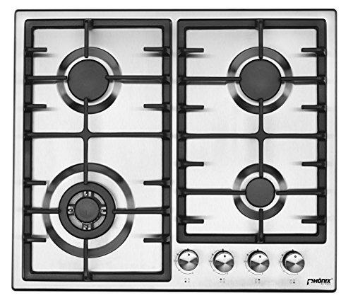 Phönix PS-603T Einbau Gaskochfeld Edelstahl Gaskocher 4 Kochplatten Propan-/ Erdgas inkl. Gasschlauch-Regler Set für Propangasflaschen