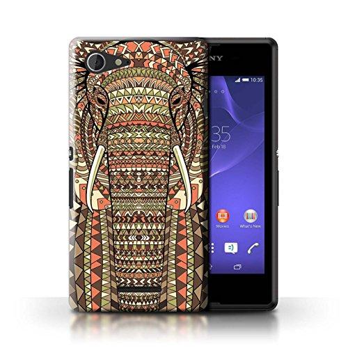 Kobalt® Imprimé Etui / Coque pour Sony Xperia E3 / Loup-Vert conception / Série Motif Animaux Aztec éléphant-Sépia