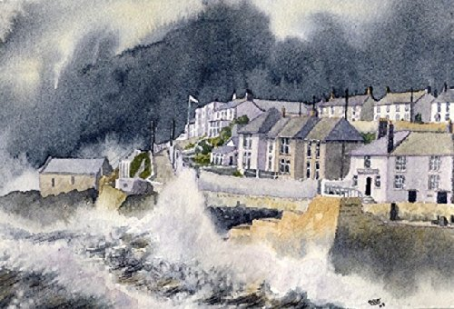 Porthleven 'Bluster'40.64 cm x 12 S Kunstdruck aus Cornwall ein Aquarellbild von Alex Pointer