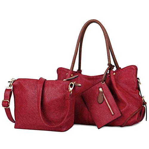 UTO Damen Handtasche Set 3 Stücke Tasche PU Leder Shopper klein Schultertasche Geldbörse Trageband rot (Rote Leder-set)