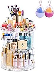 360 Degree Rotating Adjustable Cosmetics Makeup Organizer(2 sponges free), Carousel Storage for Cosmetics, Toi