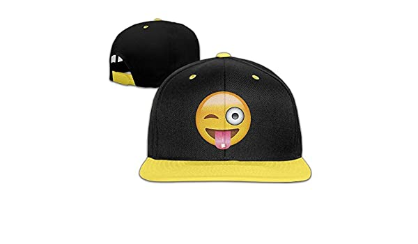 huseki wechat Emoji Naughty Face Kid s Adjustable Snapback Hat Baseball Caps Yellow