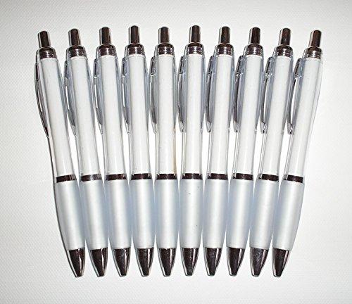 Penne a sfera bianche, corpo trasparente, 10 pezzi - Gm Corpo