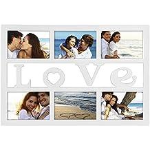 Hama Marco collage de fotos (marco de fotos con inscripción Love 6fotos en formato 10x 15, marco de plástico, cristal), color blanco.