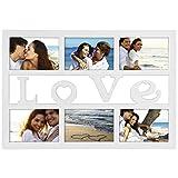 """Hama Collage Bilderrahmen für Fotocollagen """"Budapest - Love"""" (Fotorahmen mit Love-Schriftzug für 6 Fotos im Format 10x15, Kunststoff-Rahmen, Echtglas) Fotogalerie weiß"""