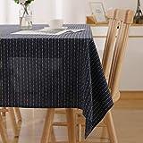 Deconovo gestreepte waterbestendige tafelkleed rechthoekig tafelkleed afwasbaar tafelkleed geruit tafelkleed voor buiten marineblauw 140x200cm