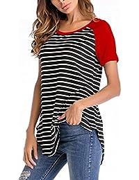 3fcff541bb23 UFACE Verkaufsfreigabe KurzäRmeliges T-Shirt mit Rundhalsausschnitt FüR  Damen Frauen Kurzarm Streifen Rundhals Casual Tops