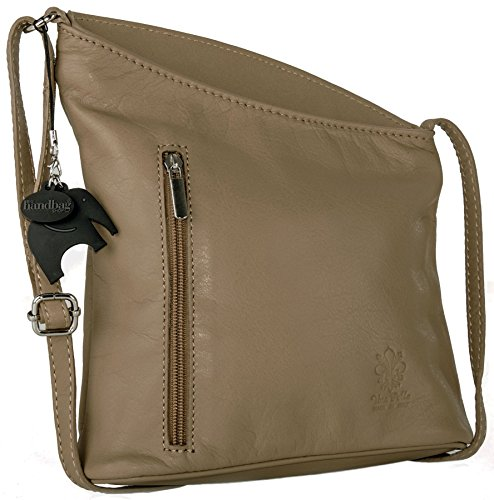 Big Handbag Shop – Tracolla in pelle italiana, vera pelle morbida, misura piccola Camel