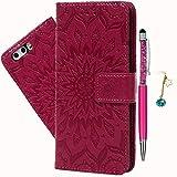 Geniric Handy Hülle für Huawei P10 Leder Flip Wallet Cover Stand Case Card Slot Leder Tasche Karteneinschub Magnetverschluß Kratzfestes (Rose Red Sonnenblume) mit Stylus Stift +Staubstecker