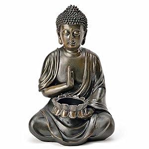 Buddha Figur mit Teelichthalter Statue Deko Skulptur feng Shui 24 cm Garten