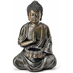 diseño de la Estatua de la escultura de Buda con portavelas de Feng Shui 24 cm jardín, New