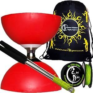 Diabolo Set Cyclone (Rot) Freiläufer (mit kugellager) Dreifache Lagerung Kombi-Set mit Diablo Alu-Handstäbe und Diaboloschnur (diabolo schnur ULTRA-SPIN Pro) 10m-Rolle +Reisetasche!