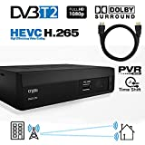 Crypto Redi 270PH 1080P Full HD 1080P DVB-T2 HEVC H.265 décodeur tnt hd avec Dolby Full Multimédia Lecteur H.265 / MPEG-2/4 et câble HDMI 1M