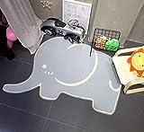 KOOCO Elefant Form Teppiche für Wohnzimmer Kinderzimmer Teppiche Kinder Spielen Spiel Fußmatte Kinder Studie Zimmer Teppich, Hellgrau, ca. 100 X 150 cm, China