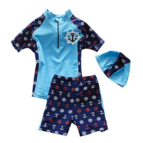 Babyicon 3pcs Baby Jungen Sonnenschutz Badebekleidungs Badeanzug mit Kappe (1-2 Jahre alt, Blau) Polyester-schwimmen-kappen