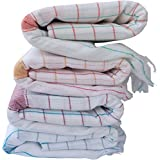 Fancyadda Handloom Cotton Bath Towels (Pack of 4, Extra Large Size, 3 feet x 6 feet, Premium Quality, Checks Pattern)