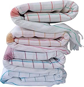 Fancyadda Handloom Cotton Bath Towels (Pack of 4, Extra Large Size, 3 feet x 6 feet, Checks Pattern)