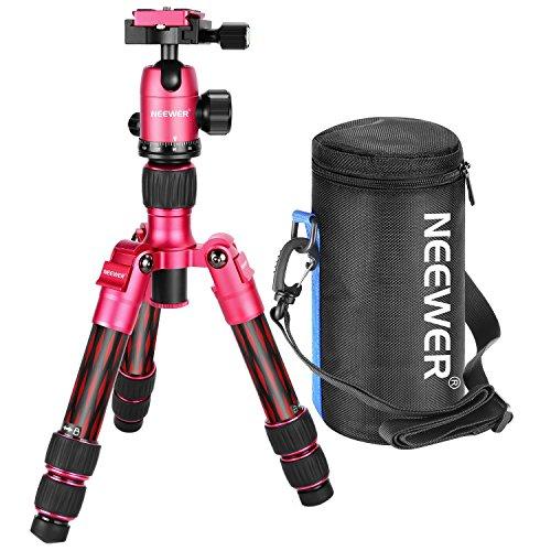Neewer Mini-Stativ aus Karbonfaser, 50cm, tragbar, für Reise und Schreibtisch, mit 360-Grad-Kugelkopf, Schnellwechselplatte, Tasche für DSLR-Kamera, Video-Camcorder bis zu 5Kilogramm, T350C (rot)
