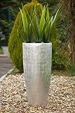 Pflanzkübel Pflanzgefäß Blumenkübel exklusiv Fiberglas Silber