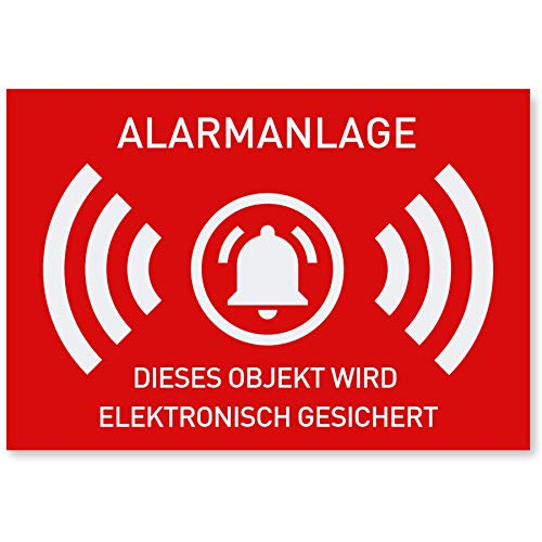 12 x Aufkleber Alarmgesichert | Schutz vor Einbruch | Alarm Sticker für mehr Sicherheit | Alarmanlage Aufkleber für außen | 7,4 x 5,2 cm geschlitzt