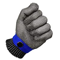 XZANTE Blue Safety Cut Proof Stab Resistant Stainless Steel Mesh Butcher Glove High Performance Level 5 Protection Size S