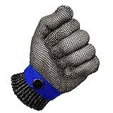 SODIAL Blu Sicurezza Tagliare Prova pugnalata Resistente Acciaio inossidabile Maglia macellaio Guanto alto Prestazione Livello 5 Protezione Dimensione S