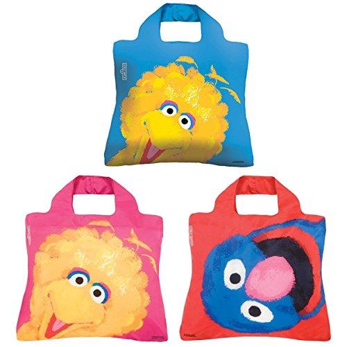 Envirosax Sesam Street Tasche, Set von 3wiederverwendbare Einkaufstaschen, Big Bird & Grover (Bird Und Big Grover)