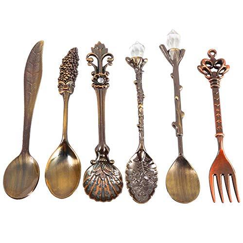 Junyee Retro Kaffee Schaufeln Set, 6pcs Zinklegierung geschnitzte Kaffee Eiscreme Obst Dessert Löffel und Gabel(Bronze) Bronze Gabel