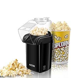 Aicok Macchina per Popcorn, Popcorn Poppers ad Aria Calda Senza Grasso, Retro Macchina Pop Corn Compatta con Design a Bocca Larga, 1200 W,  senza BPA, include Misurino e Coperchio Rimovibile