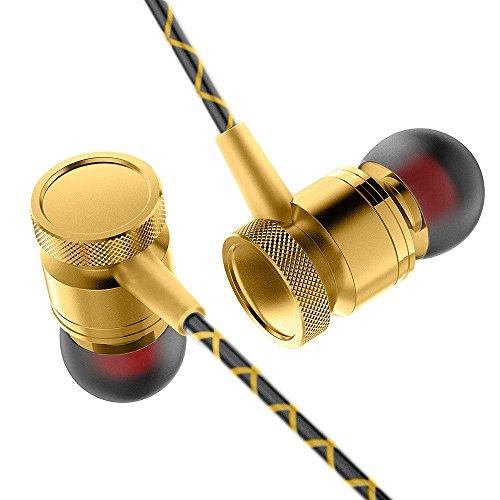 Omiky® 3,5 mm In Ear Stereo Kopfhörer Headset Super Bass Musik Metall Kopfhörer Ohrhörer (Gold)