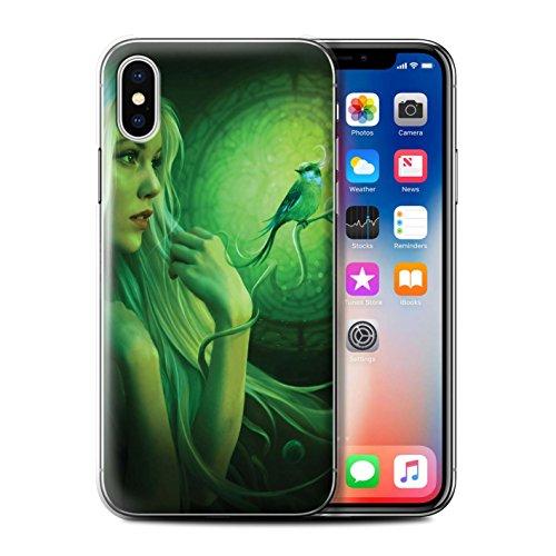 Offiziell Elena Dudina Hülle / Case für Apple iPhone X/10 / Wald/Perlenkette Muster / Die Vögel Kollektion Freie Vögel/Glasmalerei