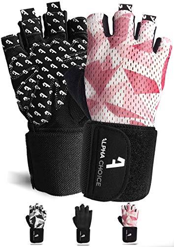 Alphachoice Performance Fitness Handschuhe Damen und Herren mit Handgelenkschutz - Trainingshandschuhe für Krafttraining, Bodybuilding, Gewichtheben (S, Rosa Rosé-Camouflage)