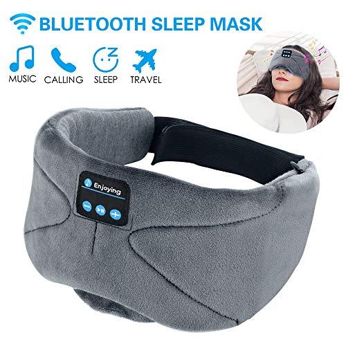 Bluetooth Schlafmaske,ink-topoint Augenmaske mit Bluetooth 4.2 Hifi Kopfhörer Schlafbrille Musik Headset Nachtmaske für Flug Reise Entspannung gegen Schlaflosigkeit,kompatibel mit iPhone iPad Samsung - Dick Ohrhörer