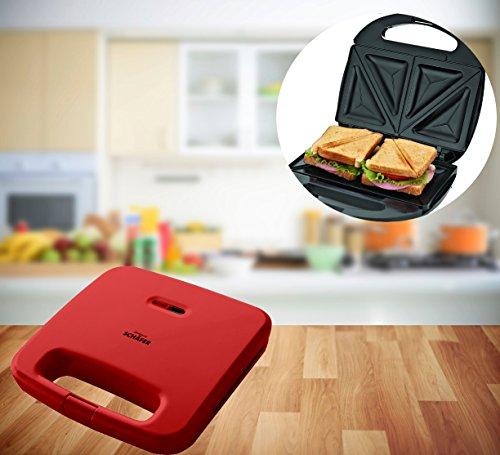 FRX Praktischer Sandwich Maker 750W Toaster Sandwichtoaster Panini Maker Doppel Kontakt Toaster antihaftbeschichtet (Rot)
