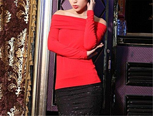 Sexy Femmes Mode Soft Off Epaules Decoupees Slim Moulante Base Shirt T-Shirt Top Rouge