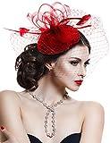 Hotelvs Donna Elegante Cocktail Fascinator Copricapo Con Fiore e Piume Clip del Cappello di Matrimonio