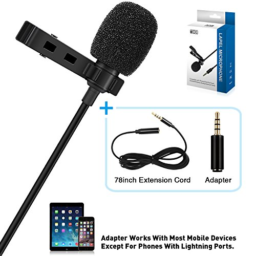 Tonor Lavalier-Mikrofon Revers Omnidirektionales Mikrofon mit Easy Clip On System für iPhone, Android und andere Smartphones - für YouTube, Interview, Studio, Videoaufnahme & Podcast, Geräuschunterdrückung Mic