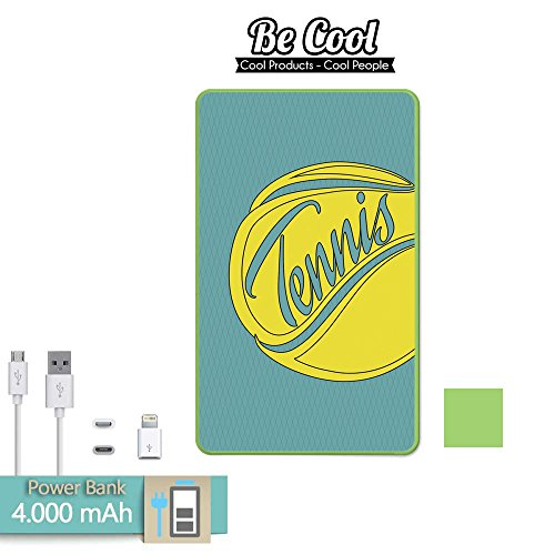 Becool® - Batería Externa Power Bank 4000 mah Grün + Gratis 1 cable USB-MicroUsb (Android) y adaptador lightning (Apple). Tennisball