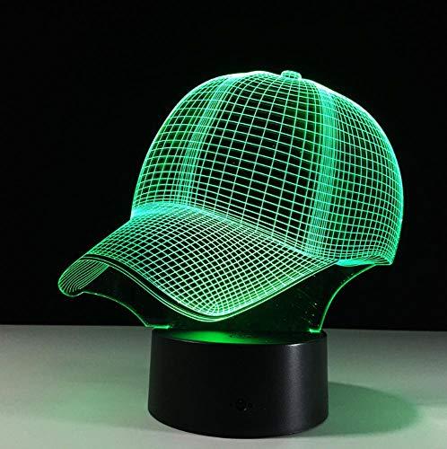 YHSM Baseball Cap 3D LED Schreibtischlampe Touch Nachtlicht 7 Farben Ändern Schlafen Lampe Licht Acryl 3D Hut Tischlampen Für Sport Fan Weihnachtsgeschenk
