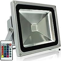 RPGT 30W RGB LED Foco Proyector Luz, 16 Colores con Mando a distancia,IP65 Impermeable Resistencia (30W)