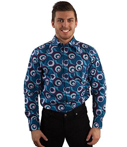 Party Hemd 70er Dots Muster Blau Blau