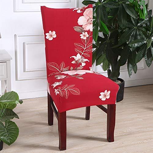 Coprisedie con schienale elasticzzato, morbuy moderno fiore stampa coprisedile sala da pranzo hotel cerimonia banchetto lavabile estraibile party decor (6 pezzi,fiore rosso)