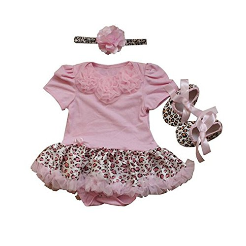 Blume Infant Kostüm - Sallyshiny Infant Neugeborenen Baby Mädchen Strampler Kleid Tutu Rock Leopard Blumen Jumpsuit Outfit Kleidung Haarband Schuhe 3/Set, Pink