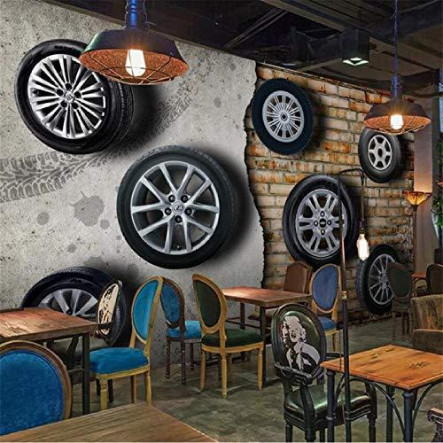 Carta da parati personalizzata 3D solido muro dipinto retrò nostalgico pneumatici per auto soggiorno muro di mattoni TV sfondo carta da parati 300x210cm