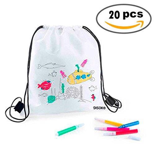 DISOK   Lote 20 Mochilas Petate Para Colorear   Regalos Cumpleaños, Comuniones, Colegios, Niños, Infantiles