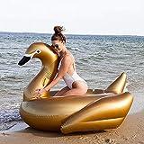 WEGCJU Cisne Hinchable Dorado Juguete De La Fiesta En La Piscina Anillo De Natación con Forma De Animal Playa Inflable Flotación Fila para Adultos,Gold-190X170X120cm