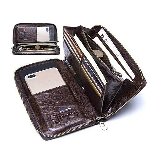 HJYJZ Man Fashion Hand Tasche Echte Leder Tote Lässige Tägliche Geldbörse Satchel Messenger Taschenkarte Organisator Geldbörse