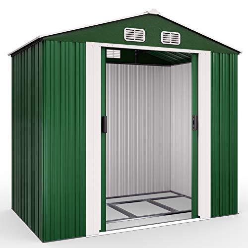 Deuba XL Metall Gerätehaus 2,4m² mit Fundament 210x132x186cm Schiebetür Grün Geräteschuppen Gartenhaus Schrank 4,2m³