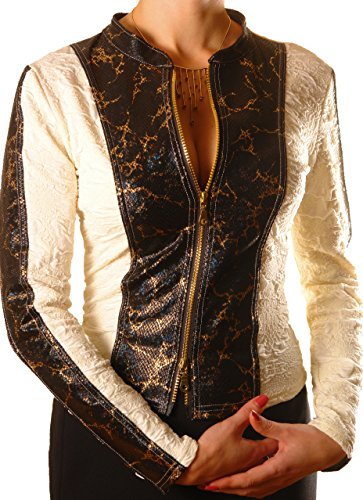 PoshTops Women/'s Top Zip Up Stretchy Ladies Jacket Faux Leather Woman Shirt