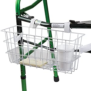 HealthSmart Walker Universal Basket with Tray and Cup Holder, White